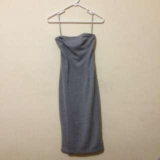 Grey Bandeau Dress