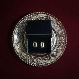 復古鍍金扣耳環-銀色橢圓