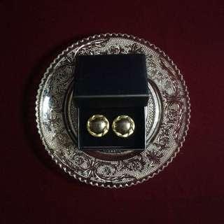 復古鍍金扣耳環-麻花圓