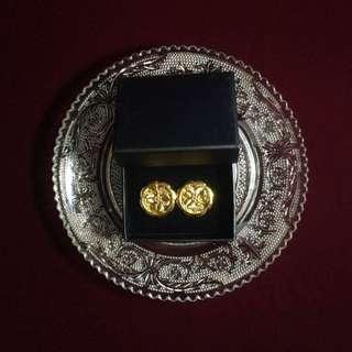 復古鍍金扣耳環-幸運草