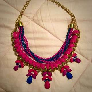 Pink, Blue & Purple Statement Necklace