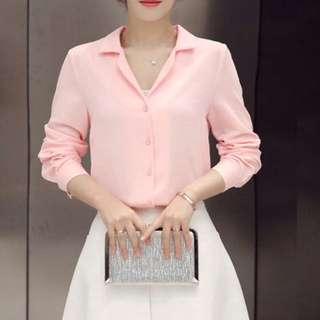 宋慧喬同款韓版 粉色雪紡襯衫上衣
