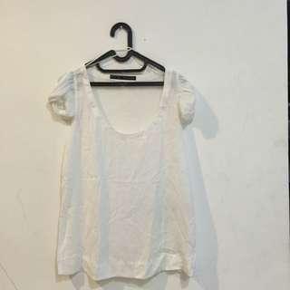 Zara Low Neck White Top