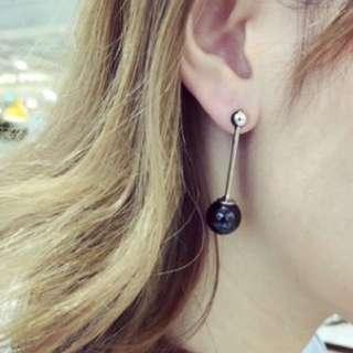黑瑪瑙精巧耳環