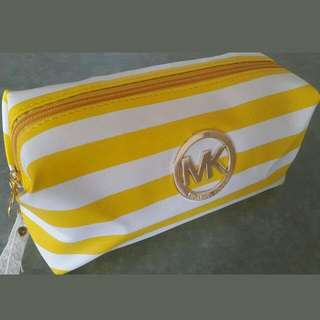New Michael Kors Yellow & White Striped Make Up Bag.