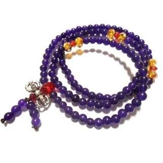 天然紫水晶藏銀金剛杵彈性款3用鍊