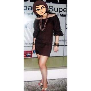 Brown Off-Shoulder Mini-Dress