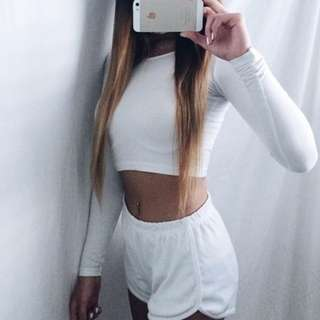 American Apparel White Long Sleeve Crop Top