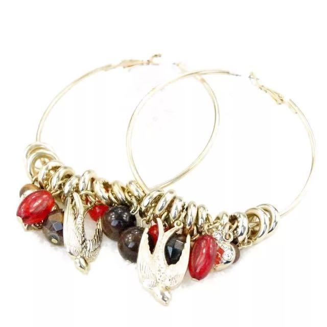 歐美風格耳環-誇張多掛墜大氣耳環