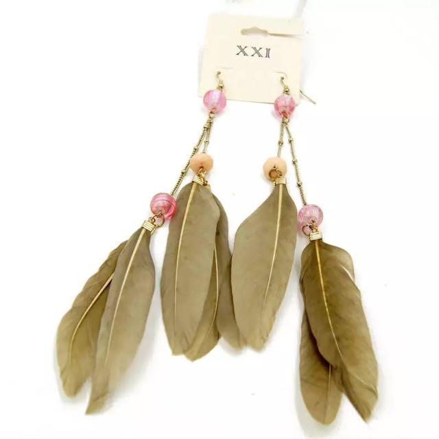 歐美風格耳環-誇張大羽毛耳環