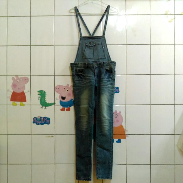 可拆式吊帶 牛仔褲