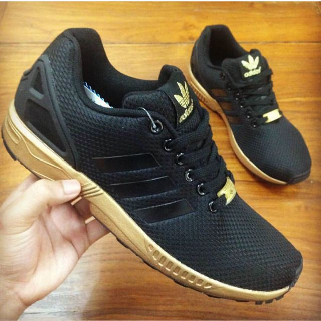 Populair ADIDAS ZX FLUX BLACK/GOLD, Men's Fashion, Footwear on Carousell #NX34