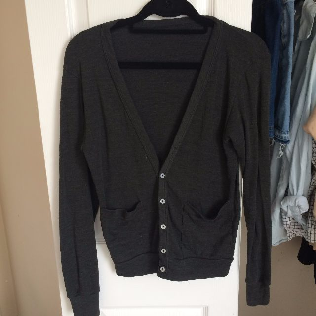 American Apparel Charcoal Grey Button Up Cardigan!