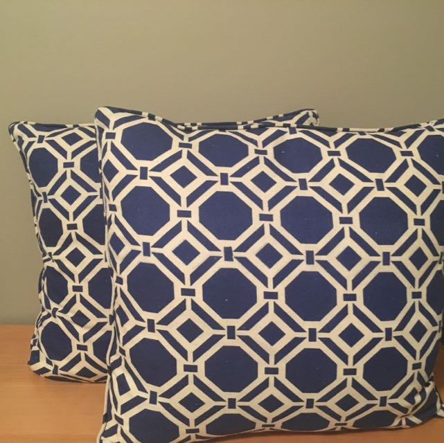 Blue And white Pattern Throw Pillows X 2