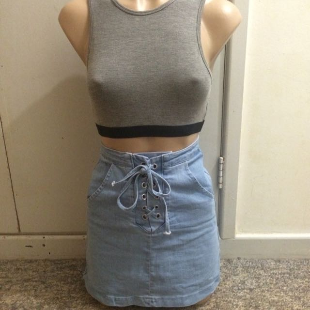 Chica Booti Denim Lace-up Skirt Size 6