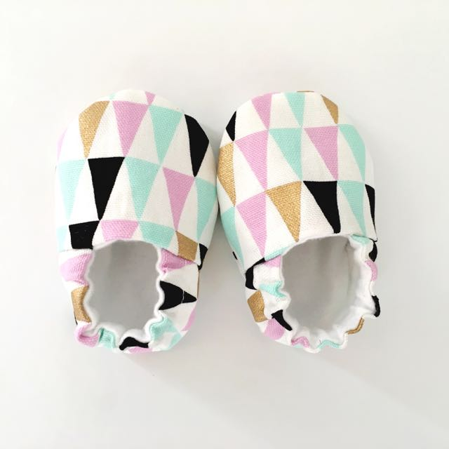 Geo Pastel & Gold Soft Sole Baby Shoes