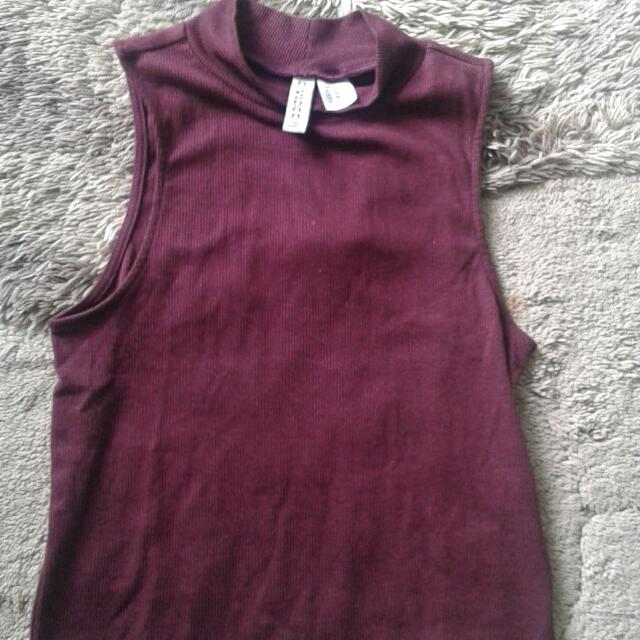H&M Divided Crop T-shirt Maroon Xs