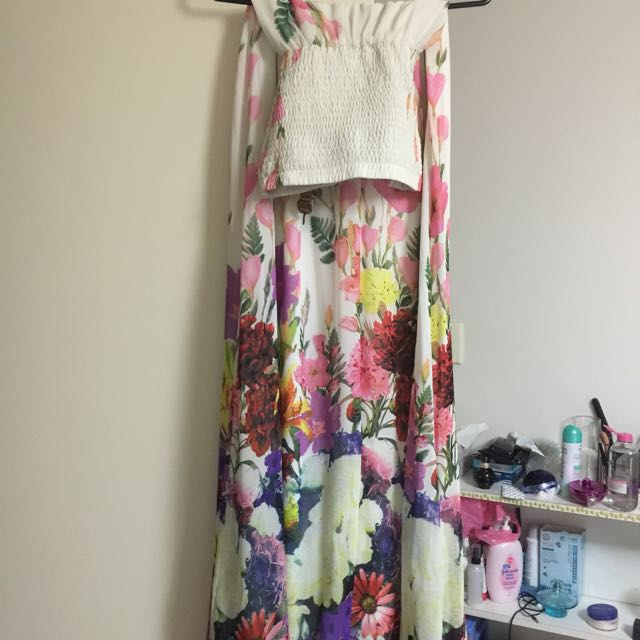 Long Boob Tube Flower Dress