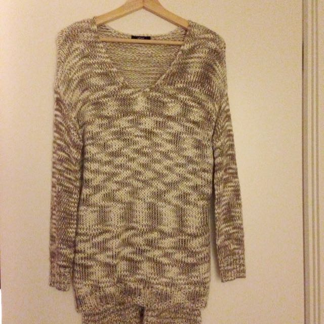 Loose Knit Taupe/Off White Sweater