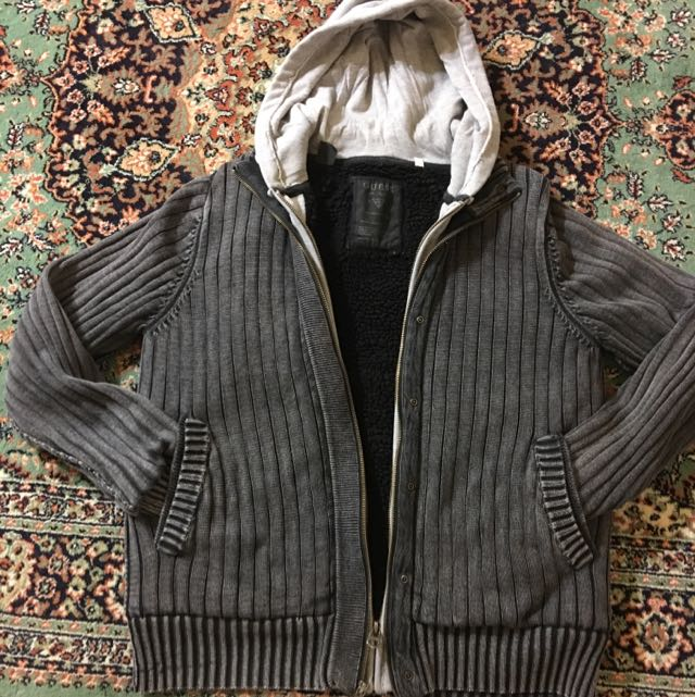 Men's Guess Ribbed Jacket With A Hoodie