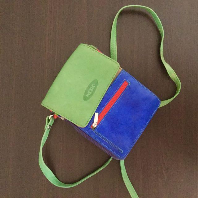 NERO blue & green mini sling bag