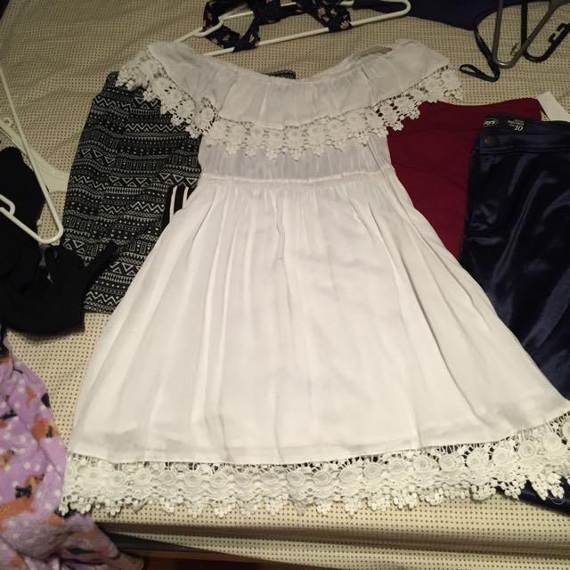 New White Off Shoulder Dress