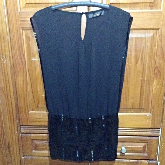 People Are People Black Sequined Dress