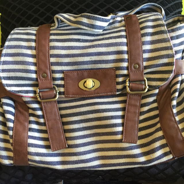 Preloved Blue And White Canvas Bag