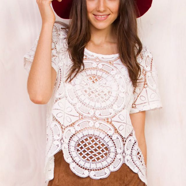 Princess Polly White Crochet Lace Shirt Top BNWT 12
