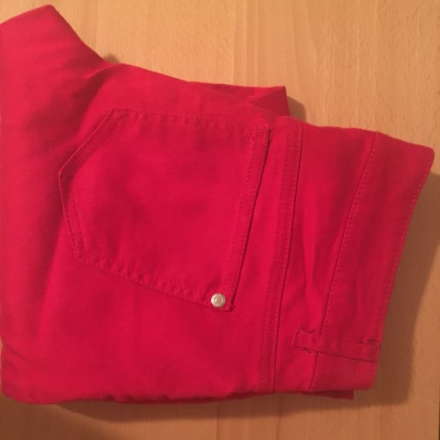 Red Skinny Denim Pants Stretch Sz 3