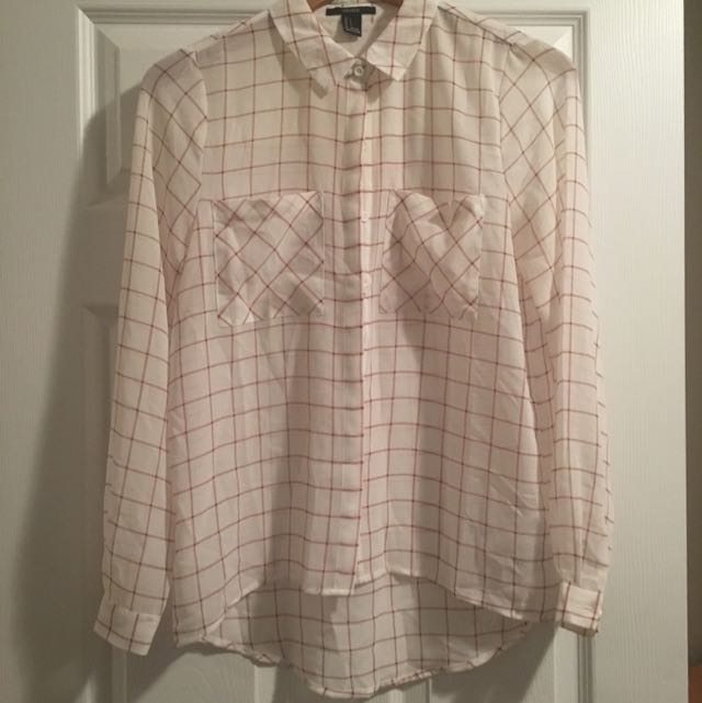 Sheer Shirt Sz S With Burgandy Plaid Detail