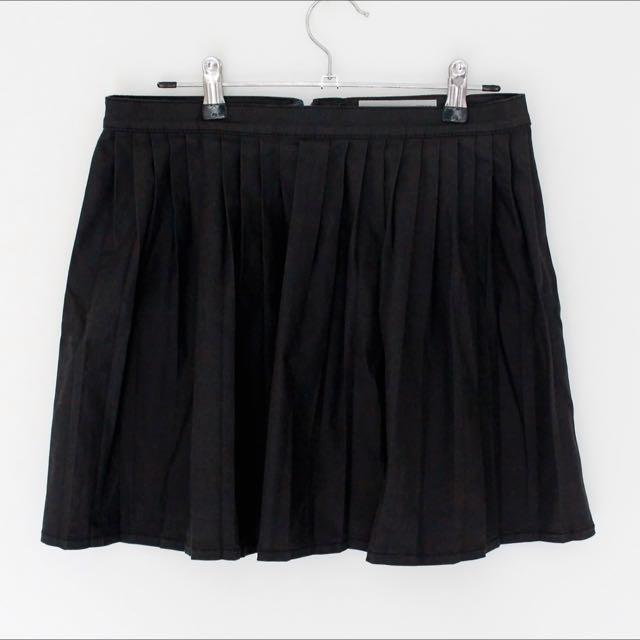 Top Shop Black Denim Pleated Skirt