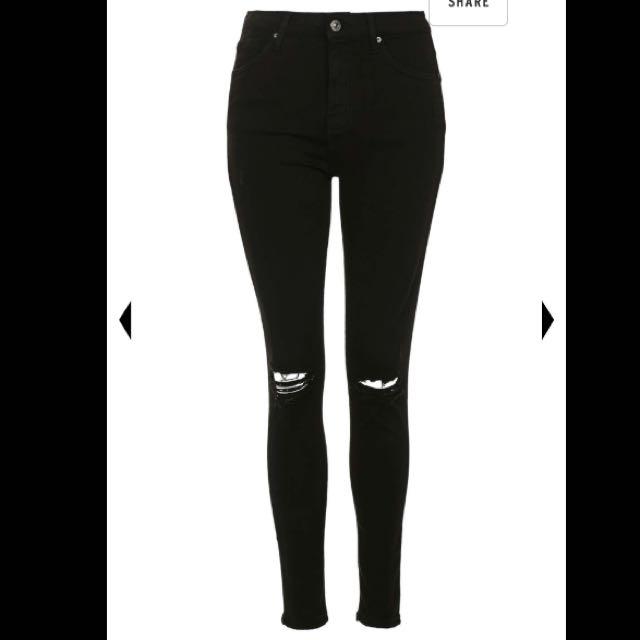 Topshop Jamie Black Ripped Jeans W24L34