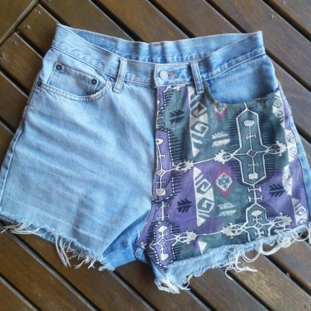 Vintage High Waisted Denim Shorts One Off