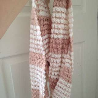 Pink And White Circle Scarf