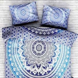 Queen Size Mandala Blue/Black Quilt Cover. W/X2 Pillow Cases.