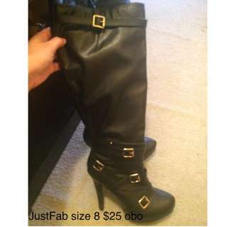 JustFab Knee High Stiletto Boots