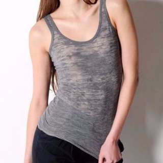 AGENT NINETYNINE GREY BURNT OUT SHEER SLOUCHY TANK SINGLET - SIZE S