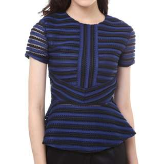 MDS Lucille Sleeved Top in Navy Stripes
