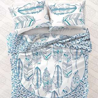 """Bohemian Ocean Leaves"" Quilt Cover W/X2 Matching Pillow Cases."