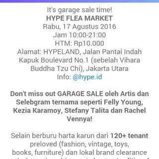 Yuk Ke HYPE.. GARAGE SALEEEEE