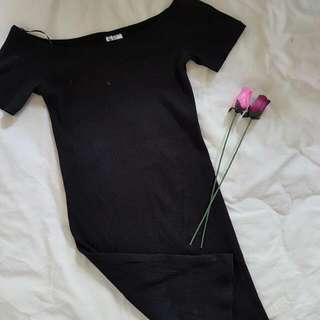 H & M Divided- Off Shoulder Black Dress - Medium