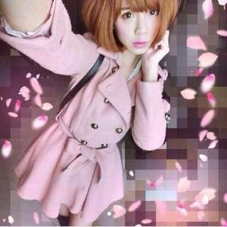 雙排扣小公主毛呢傘狀外套洋裝 原2980