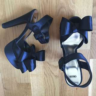 Asos Black Satin Bow Heels Platforms
