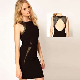 Black Dress with Cut Out Back (UK 6)