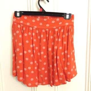 Orange Spot Cotton Skirt