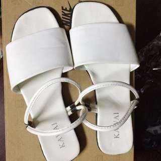 白細帶涼鞋 拖鞋 兩穿 36