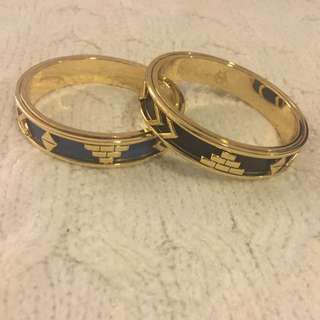House of Harlow 1960 Aztec Bangles (black and blue)