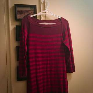Burgundy & Merlot Striped Cotton Dress