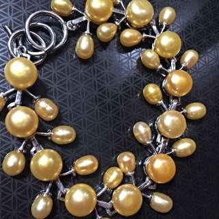 Real Golden Pearls Bracelet